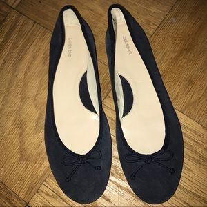 New Land's  End Navy Suede Ballet Flats 10